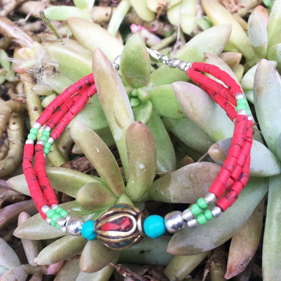 Handmade Traditional Bohemian Coral Bracelet