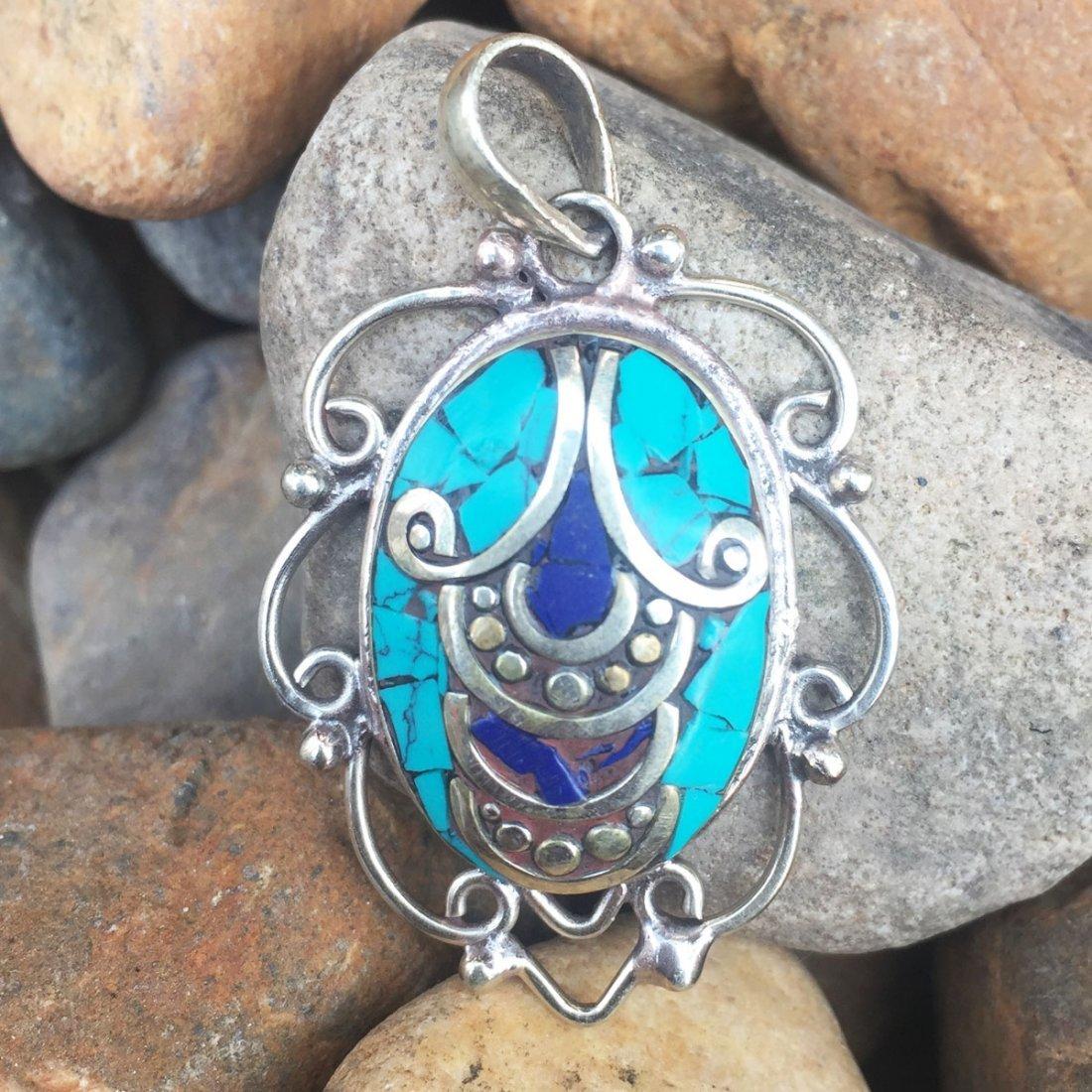 Turquoise & Coral Handmade Statement Pendant