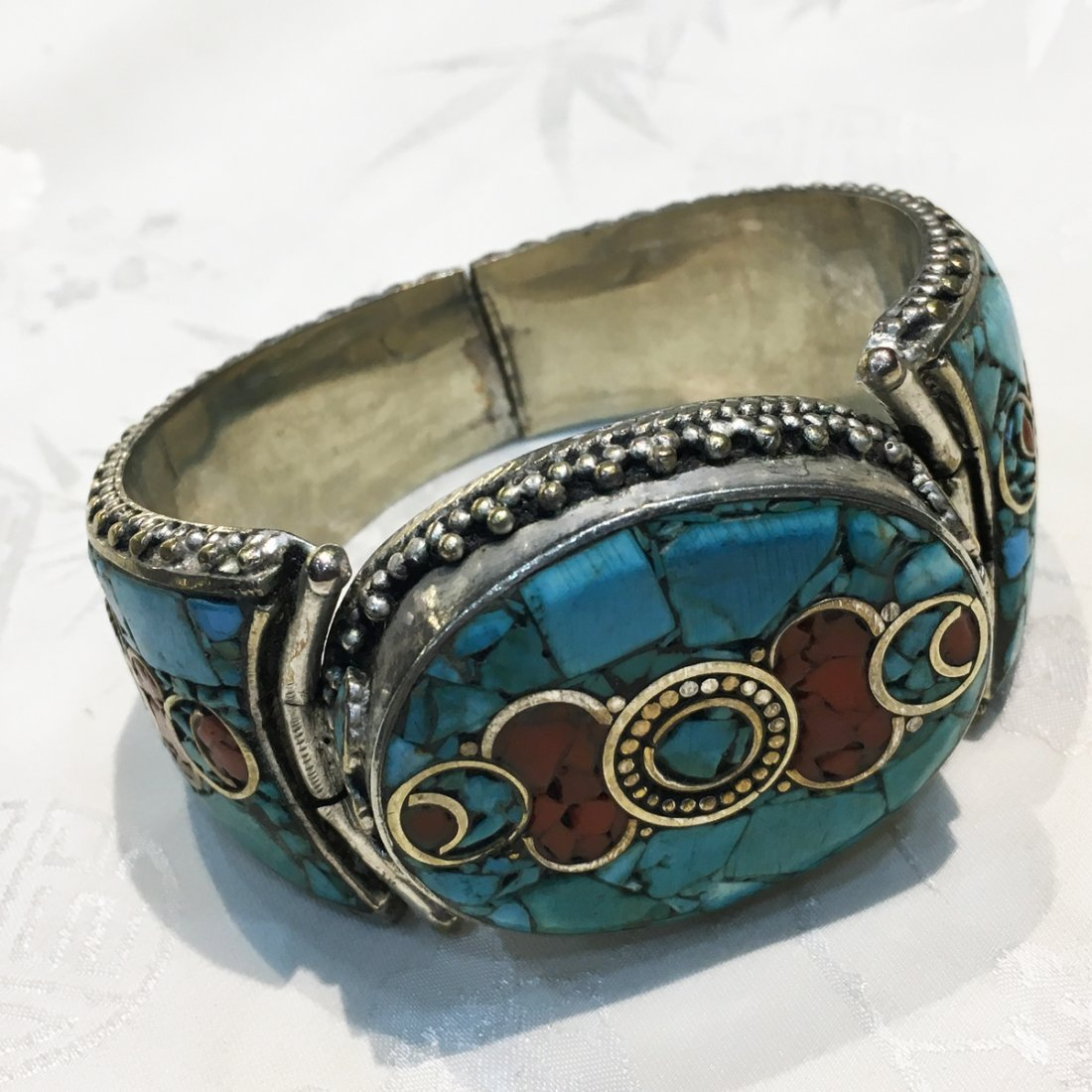 Traditional Tibetan Turquoise with Coral Bangle
