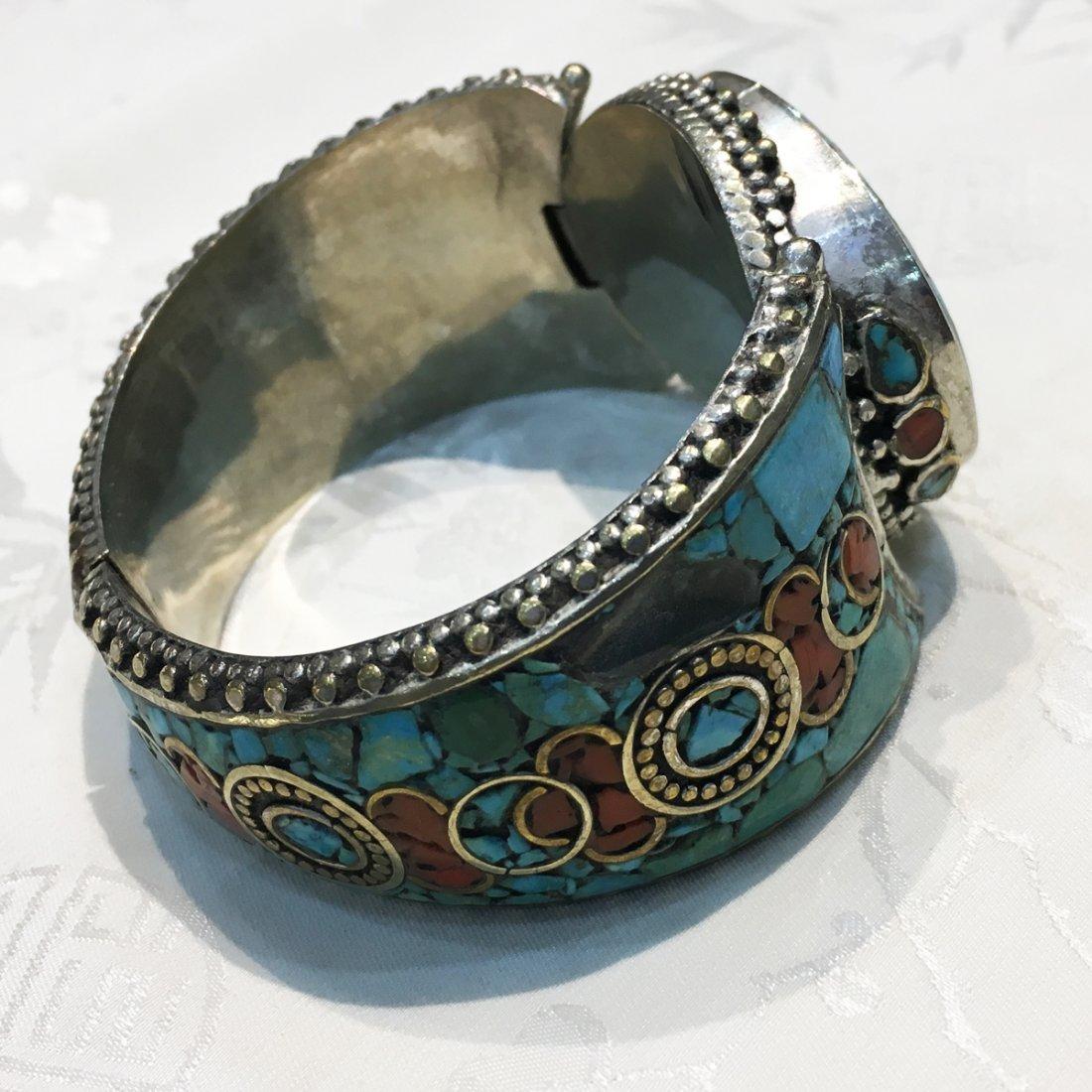 Traditional Tibetan Turquoise with Coral Bangle - 2