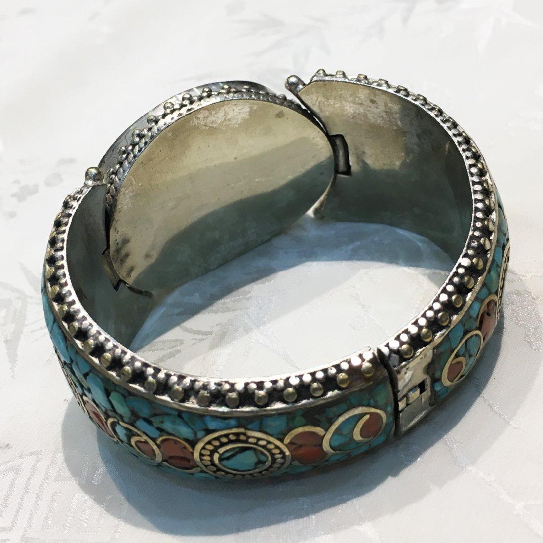 Traditional Tibetan Turquoise with Coral Bangle - 3