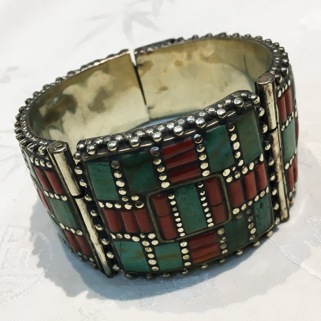 Tibetan Turquoise & Coral Statement Bangle