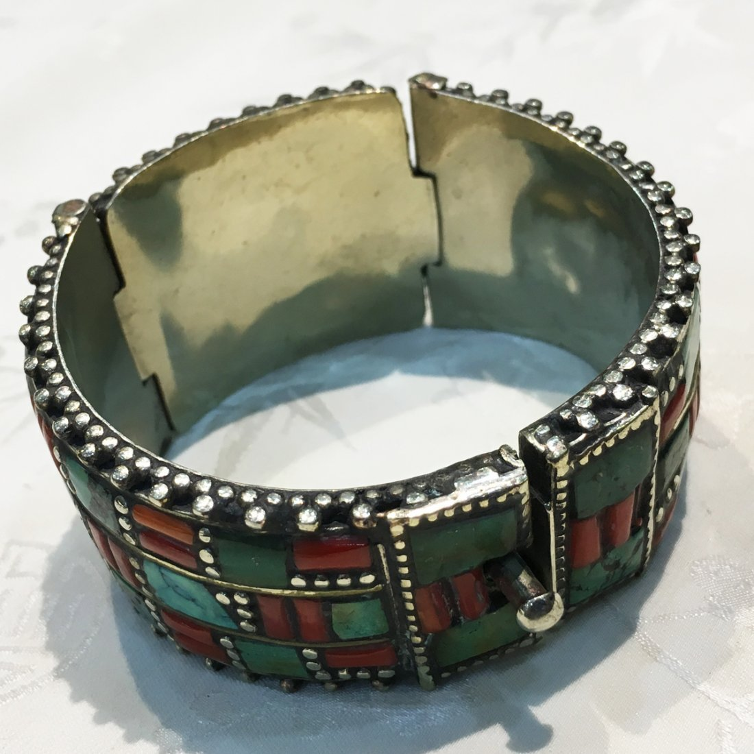 Tibetan Turquoise & Coral Statement Bangle - 3