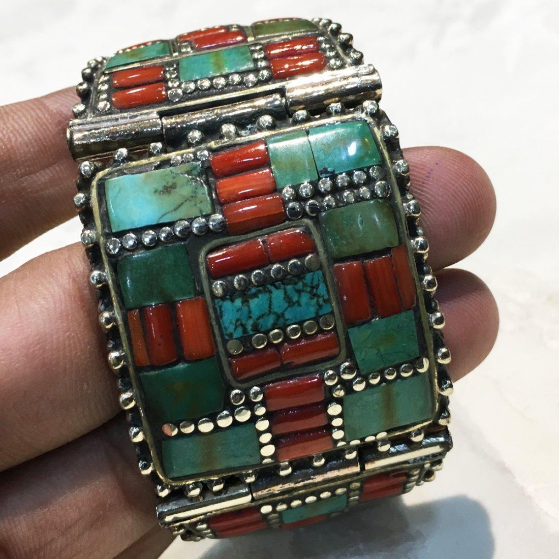 Nepali & Mexican Turquoise Bold Ethnic Bangle - 4
