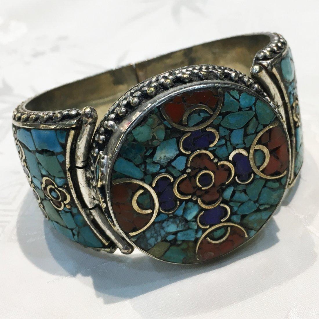 Ethnic Tibetan Turquoise & Coral Mexican Bangle
