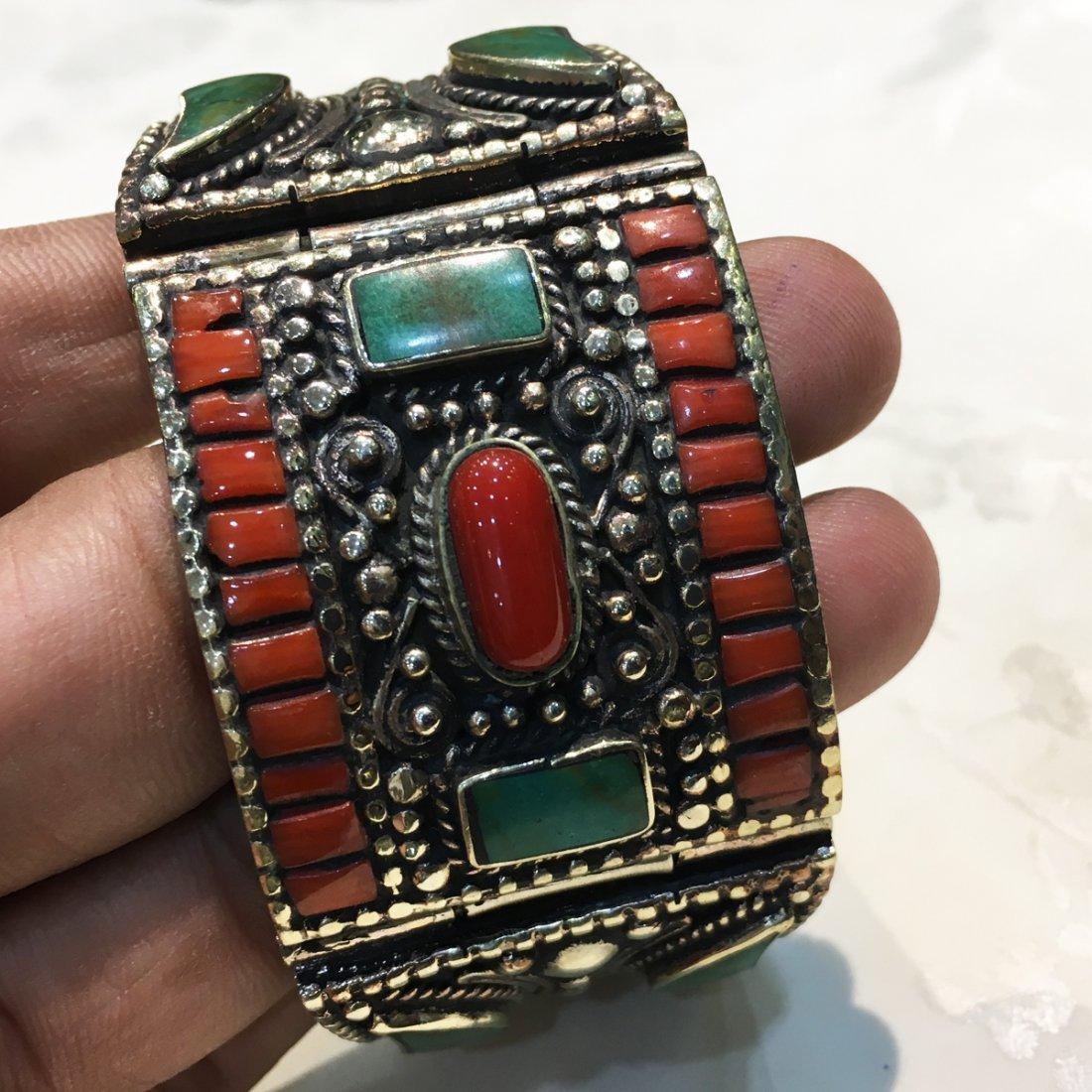 Tibetan Turquoise & Coral Handmade Bangle - 4
