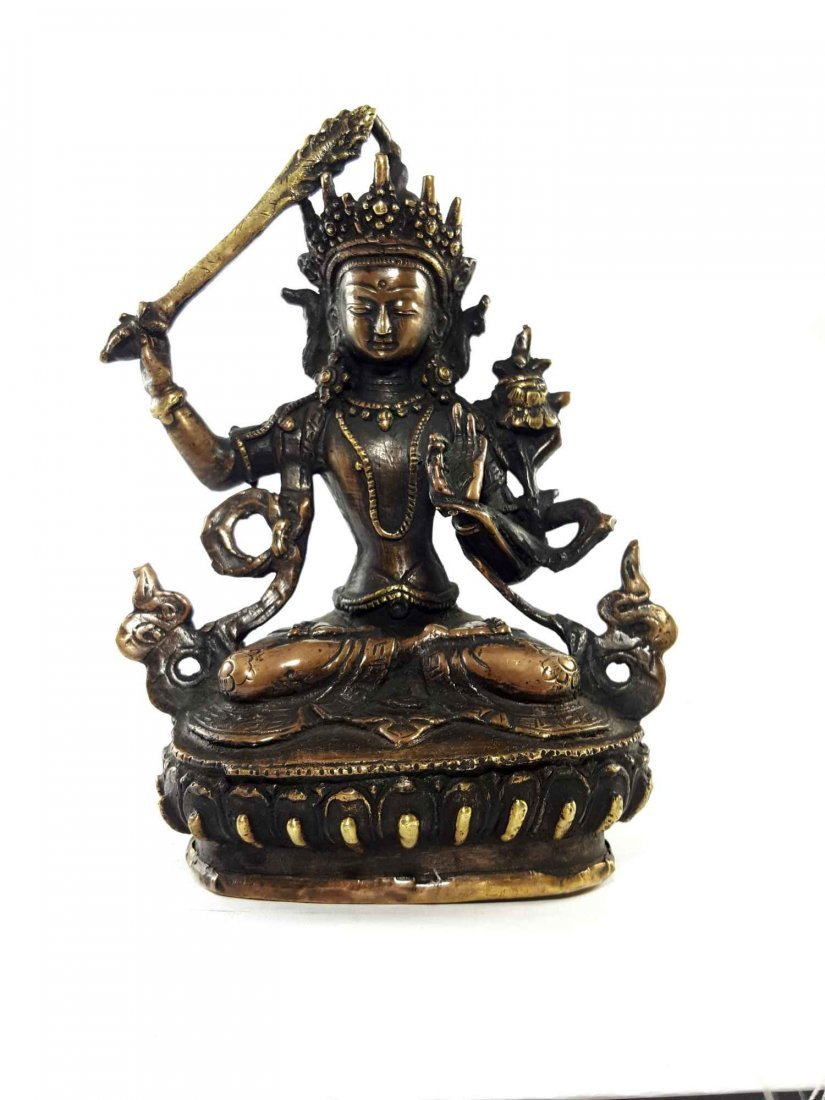 6 Inch Rare Brass Manjushree Statue [Antique Finishing]