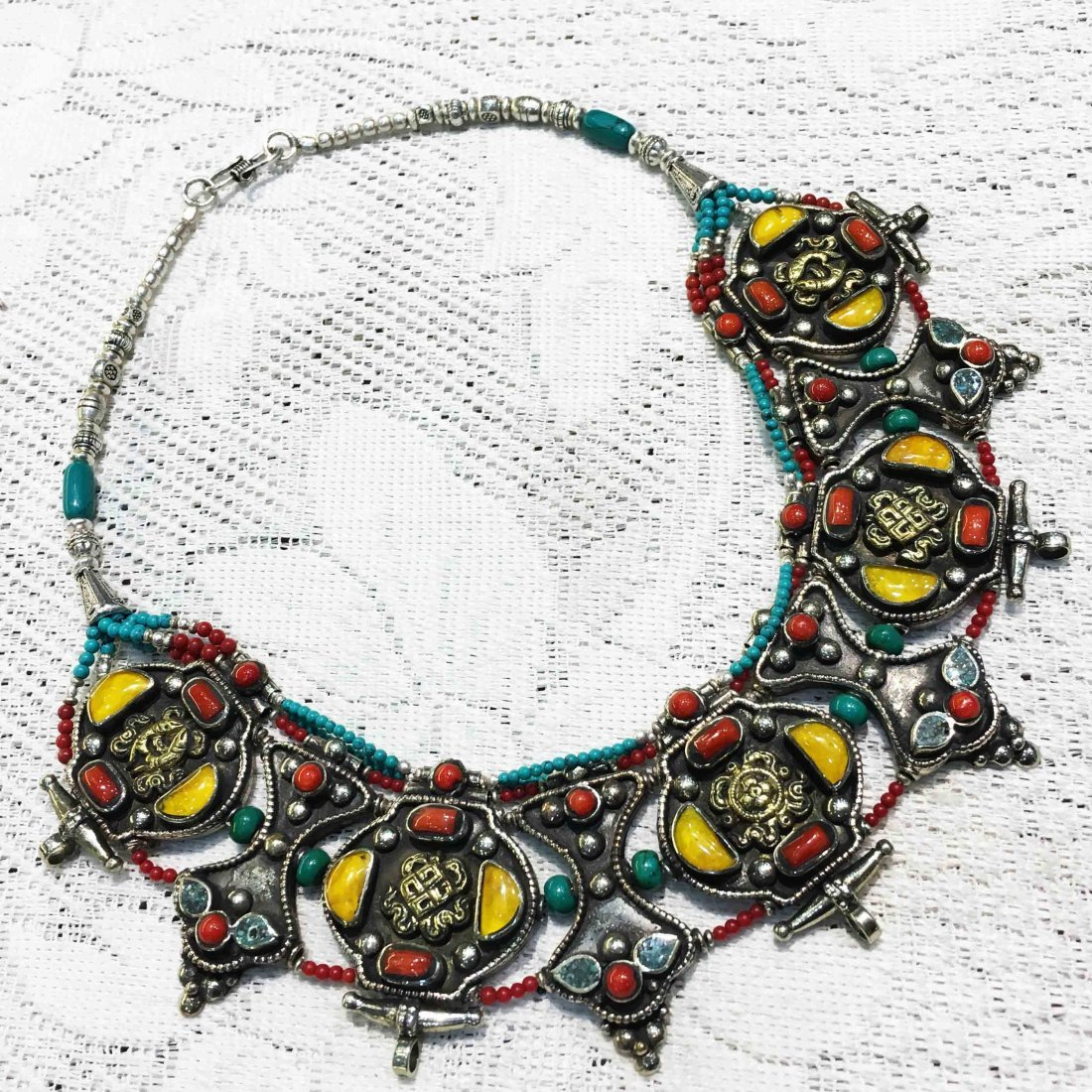 Tibetan Red Coral & Amber Handmade Bold Necklace