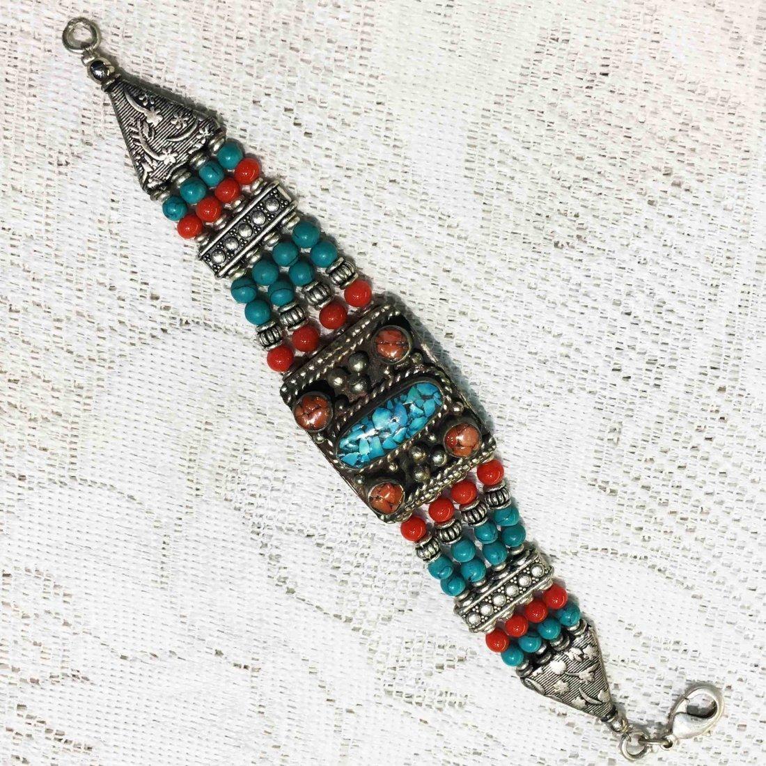 Bold Ethnic Turquoise Bohemian Bib Bracelet