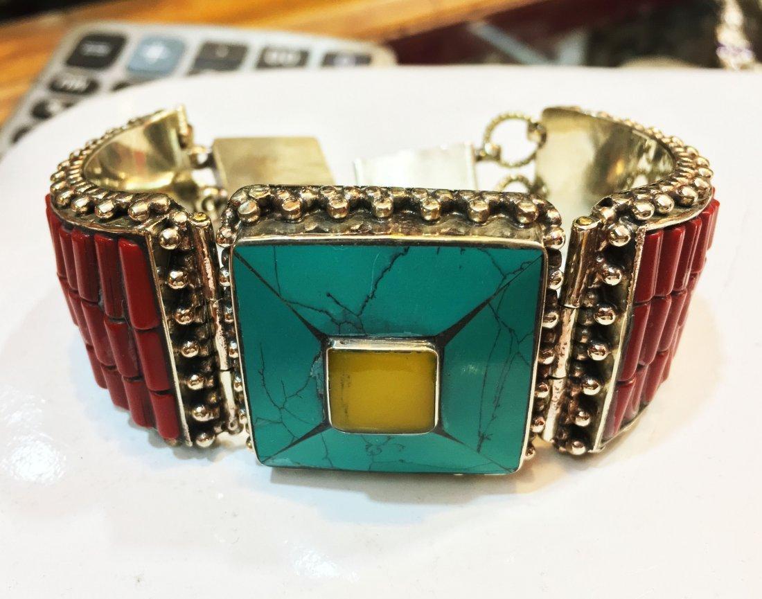 Bold Ethnic Lapis & Coral Bohemian Bib Bracelet
