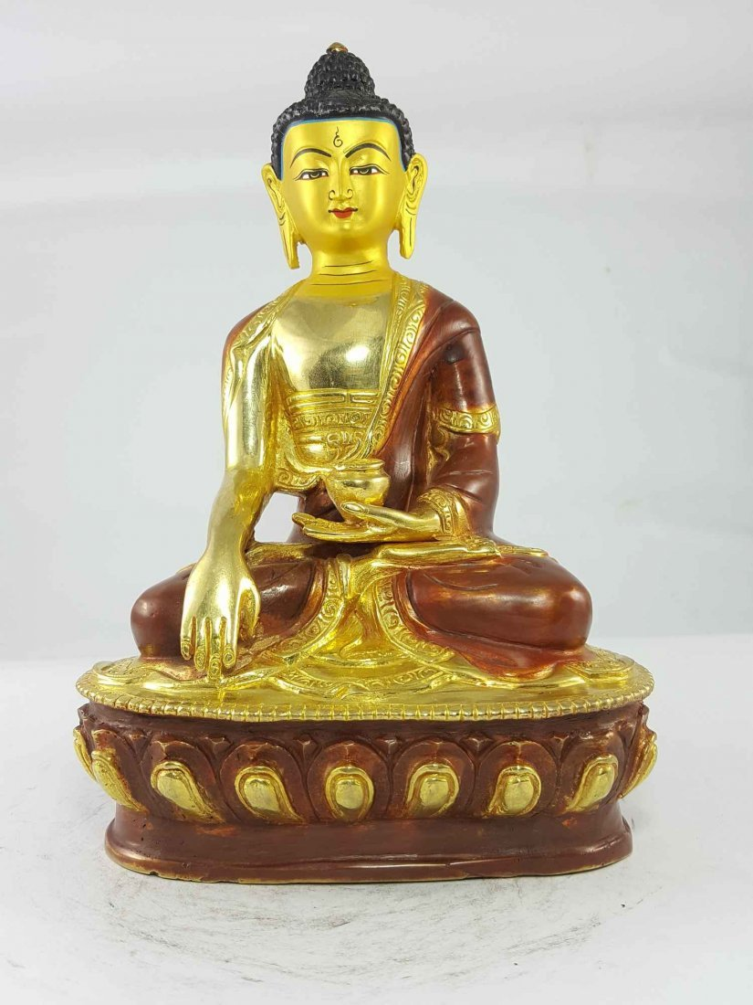 8 Inch Shakyamuni Buddha Partly Gold plated Painted