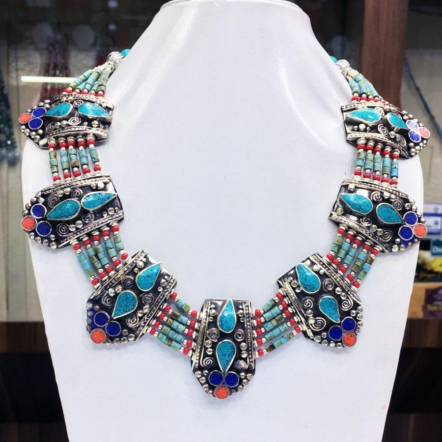 Gypsy Tibetan Designer Turquoise & Coral Necklace