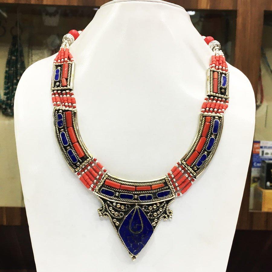 Buddhist Lapis Vintage Tibetan Nepali Necklace
