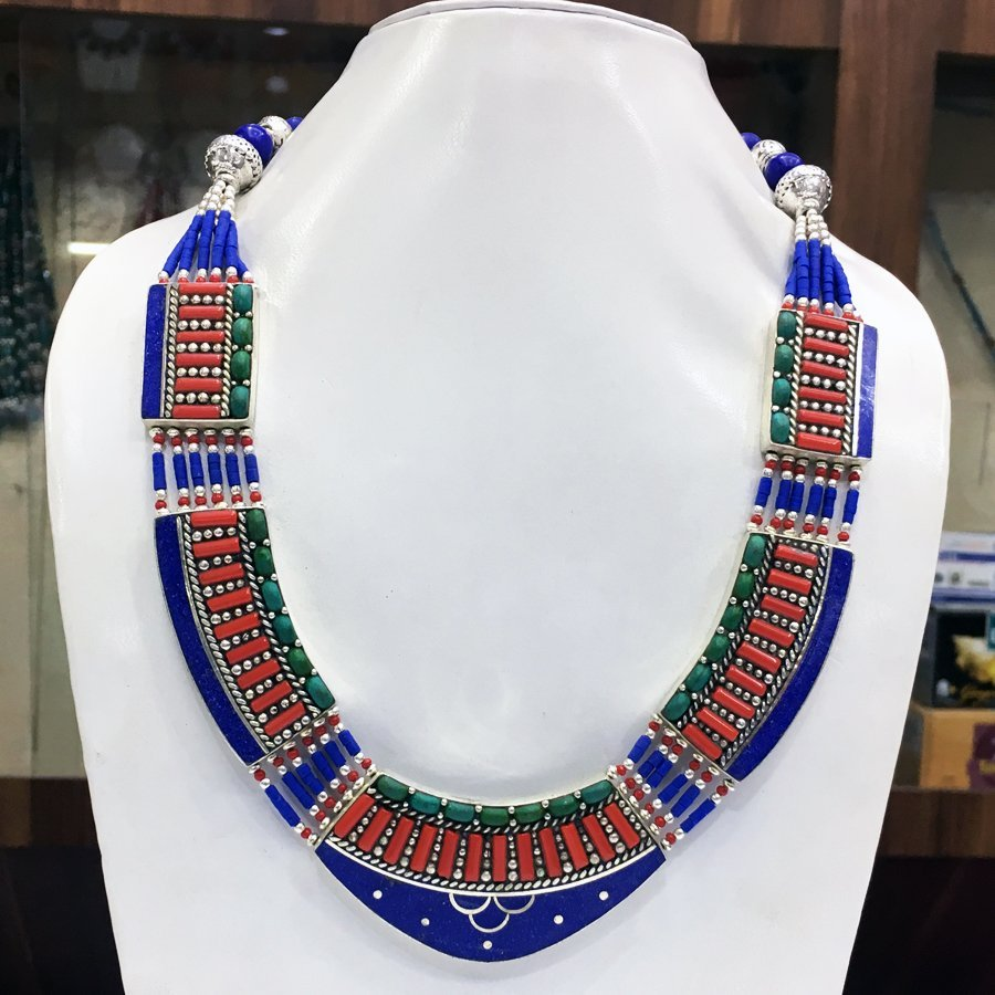 Antique Traditional Vintage Lapis Choker Necklace