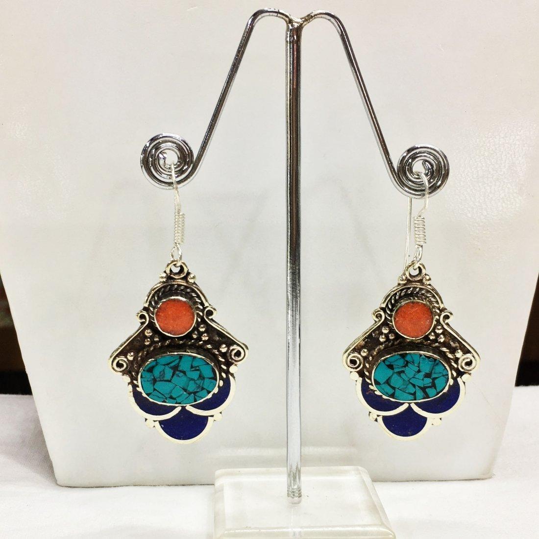 Tibetan Turquoise & Lapis Handmade Earring