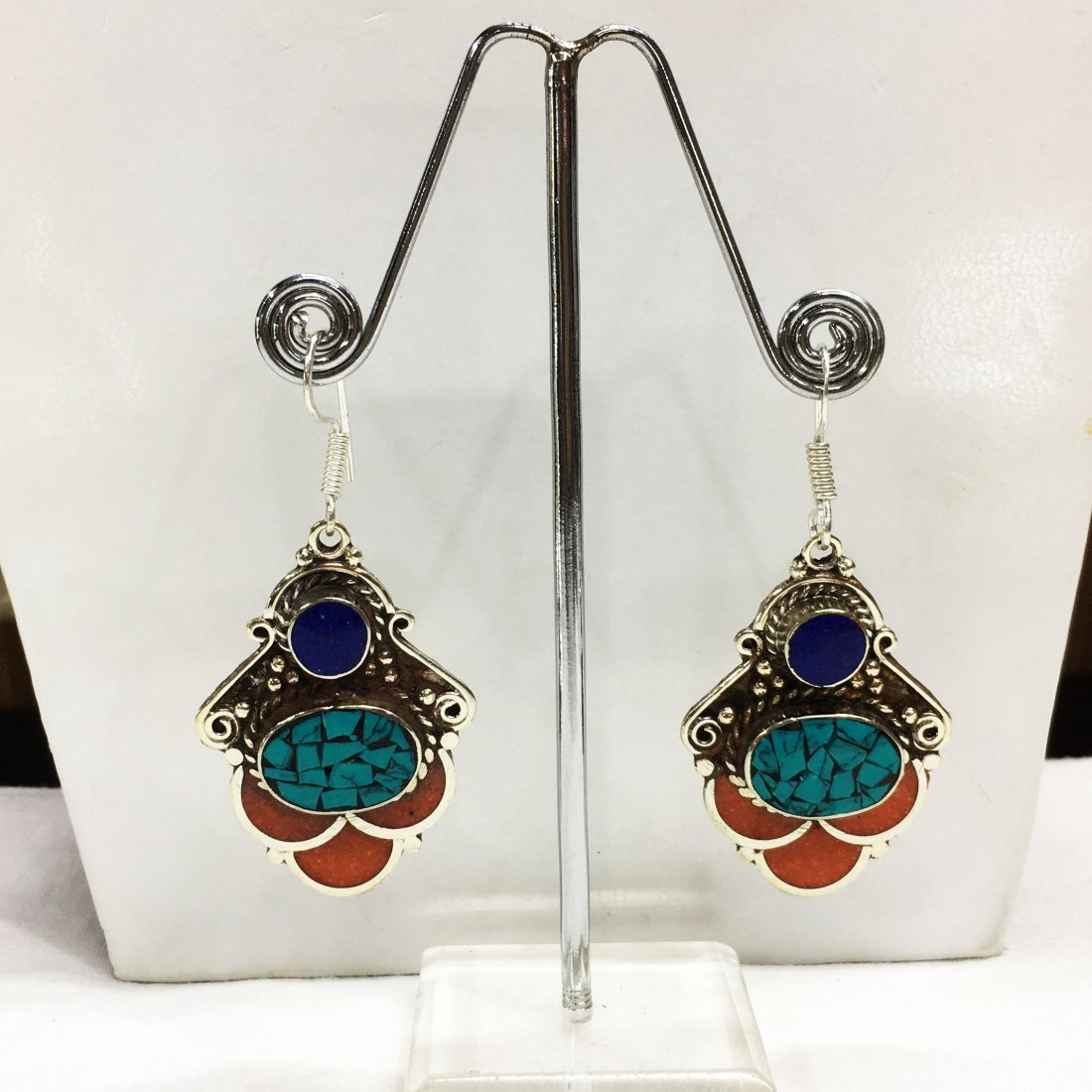 Nepali Handmade Tibetan Turquoise & Coral Earring