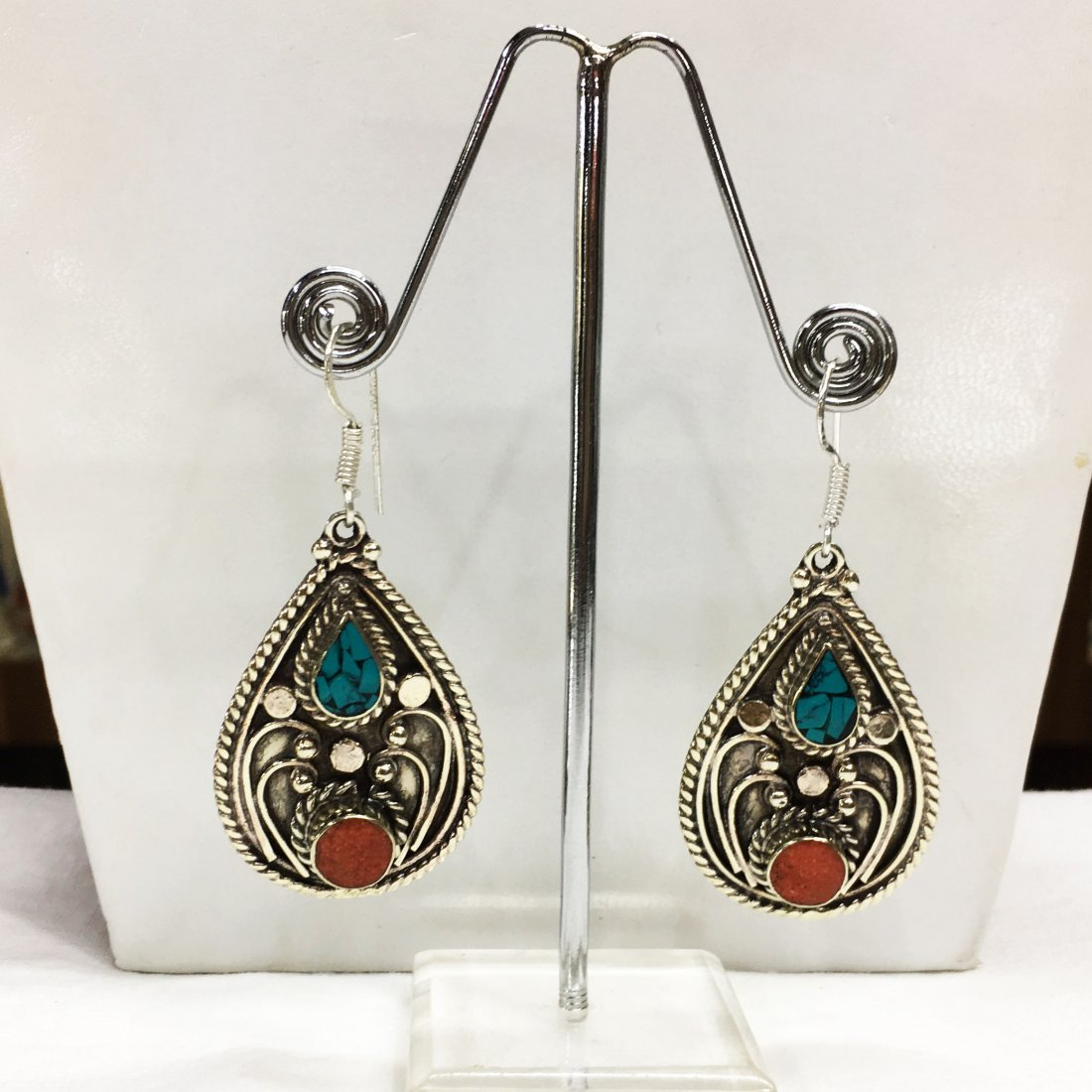Nepali & Mexican Turquoise Bold Ethnic Earring