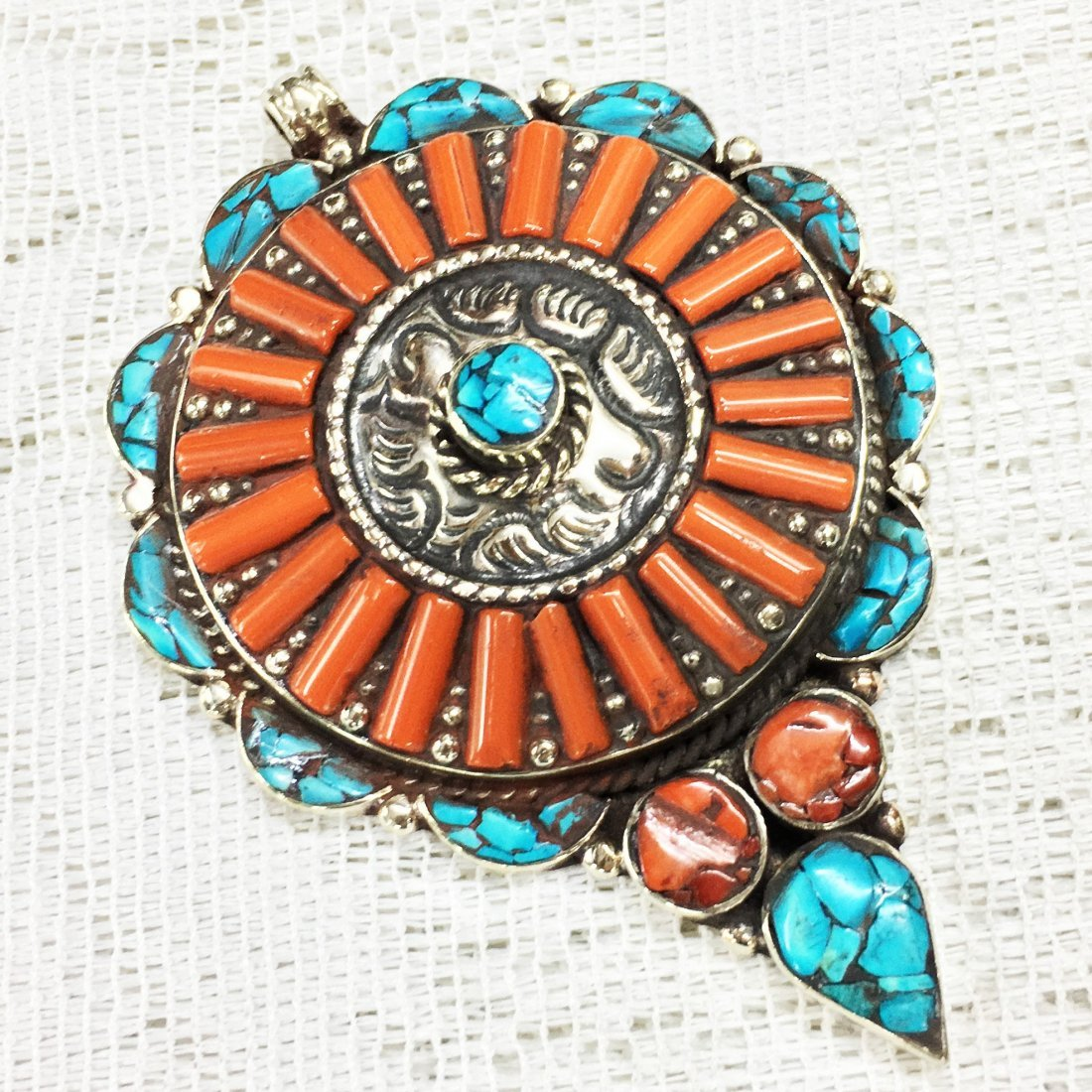 Handmade Turquoise & Coral Awesome Pendant