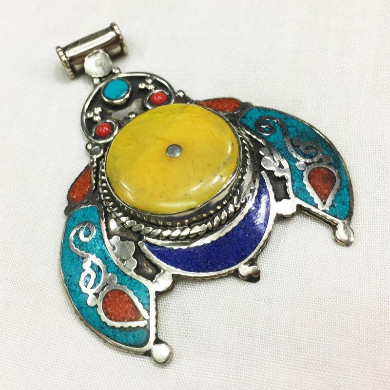 Tibetan Bohemian Turquoise & Amber Pendant
