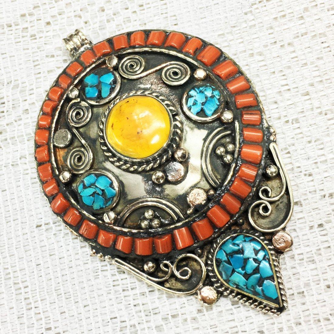 Turquoise & Amber Beads Handmade Pendant