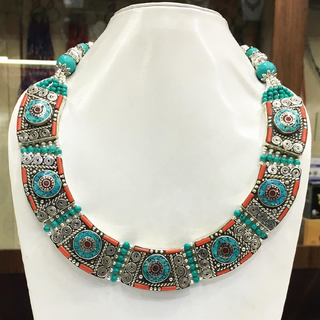 Vintage Tibetan Coral Turquoise Necklace