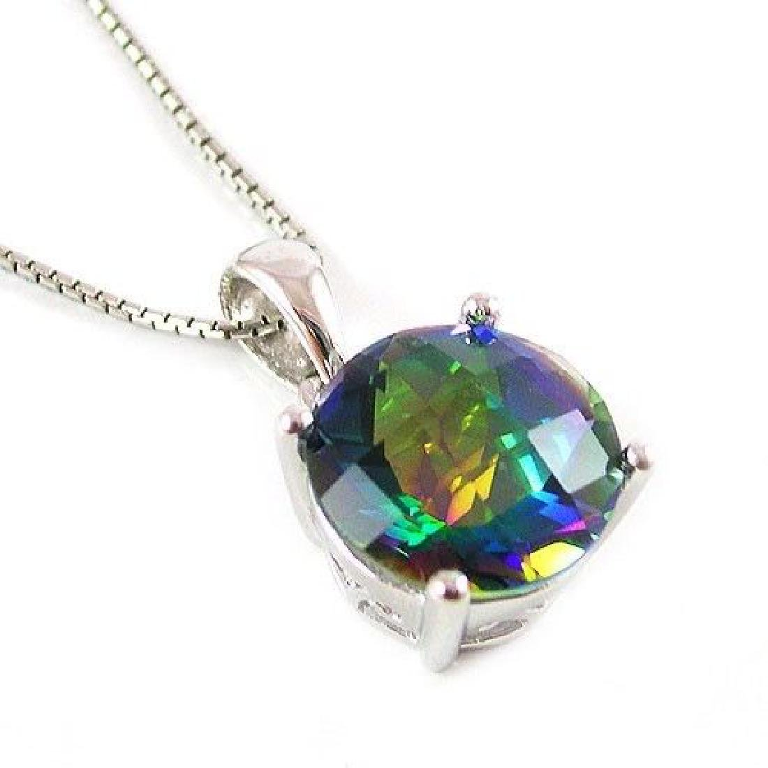 Sterling Silver Cut Faceted Blue Mystic Topaz Pendant