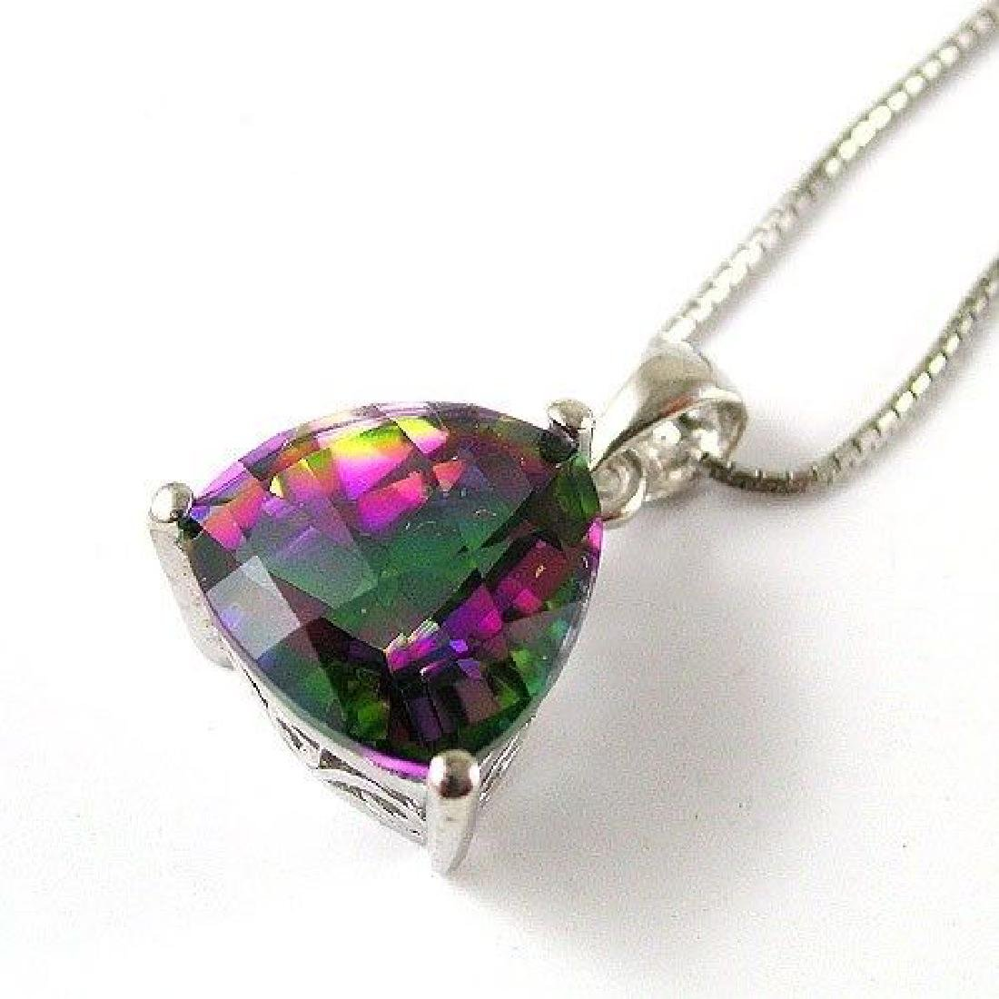 Sterling Silver 925 Green Purple Mystic Topaz Pendant