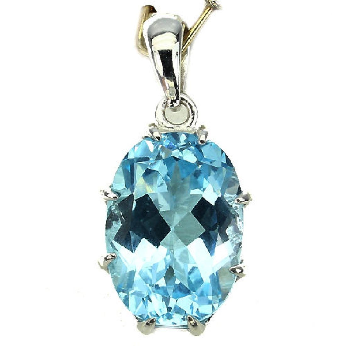 Sterling Silver Natural Blue Topaz Solitaire Pendant
