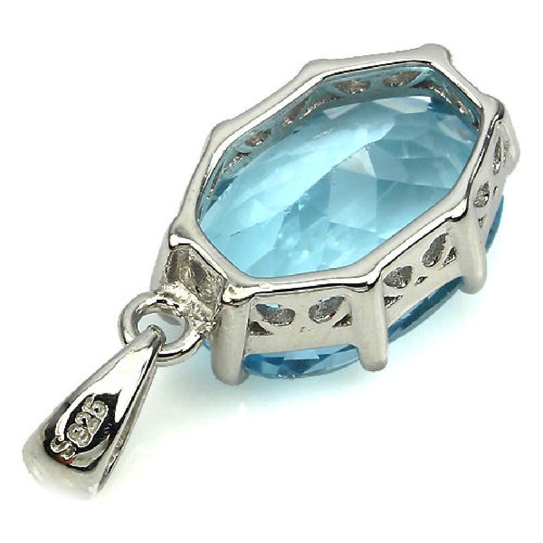 Sterling Silver Natural Blue Topaz Solitaire Pendant - 2