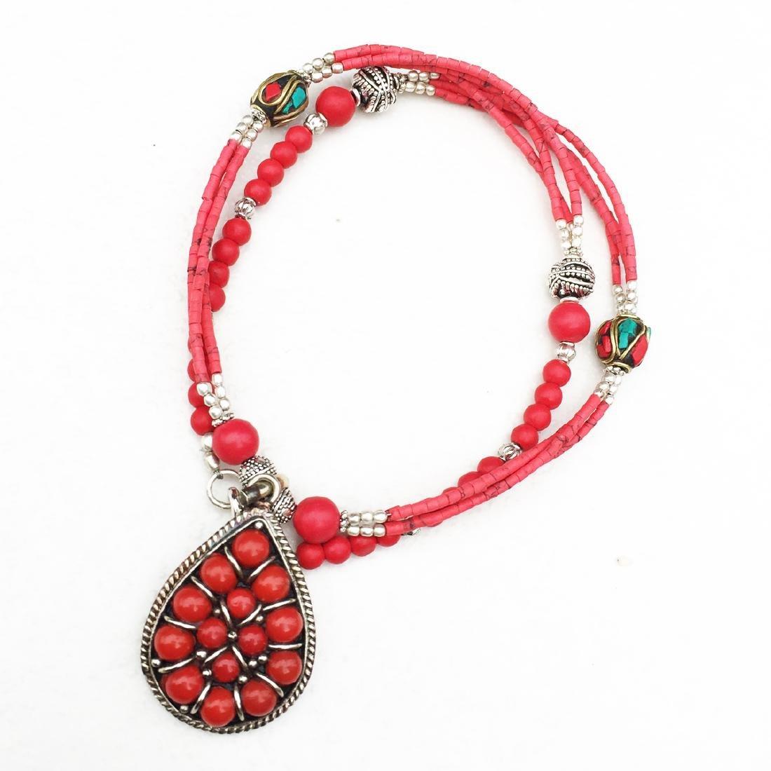 Nepali Handmade Tibetan Turquoise & Coral Necklace