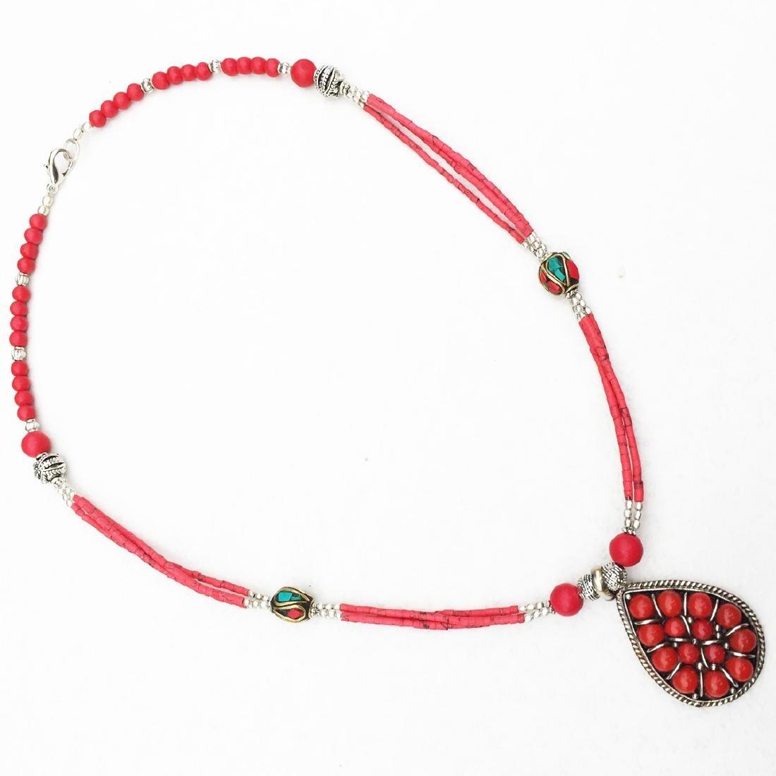 Nepali Handmade Tibetan Turquoise & Coral Necklace - 2