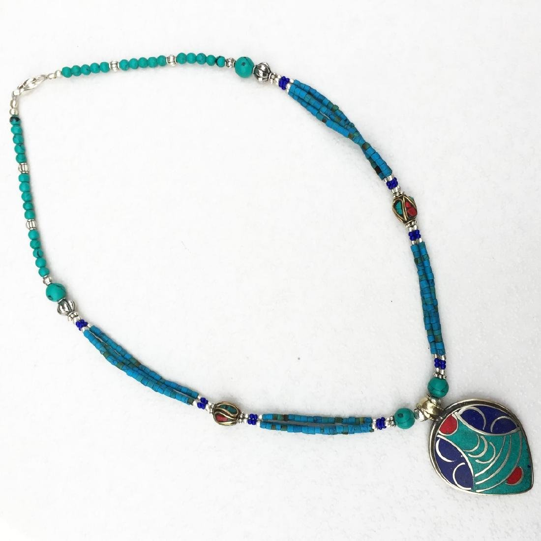 Tibetan Turquoise & Coral Statement Necklace - 2