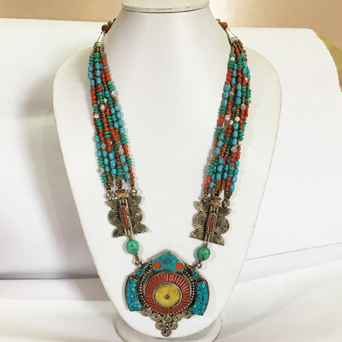 Tibetan Buddhist Turquoise & Amber Vintage Necklace