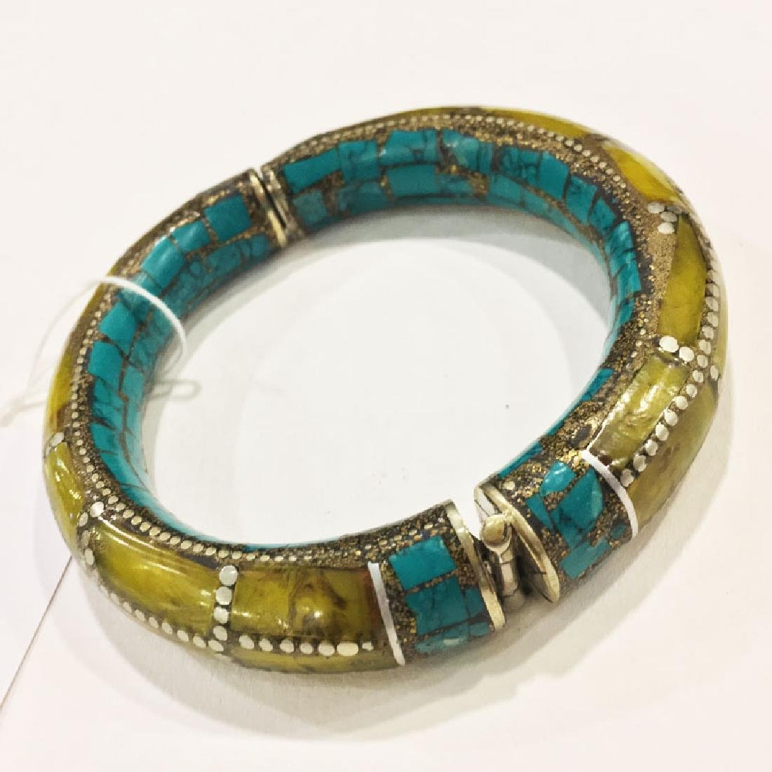 Sterling Silver Turquoise & Amber Bangle