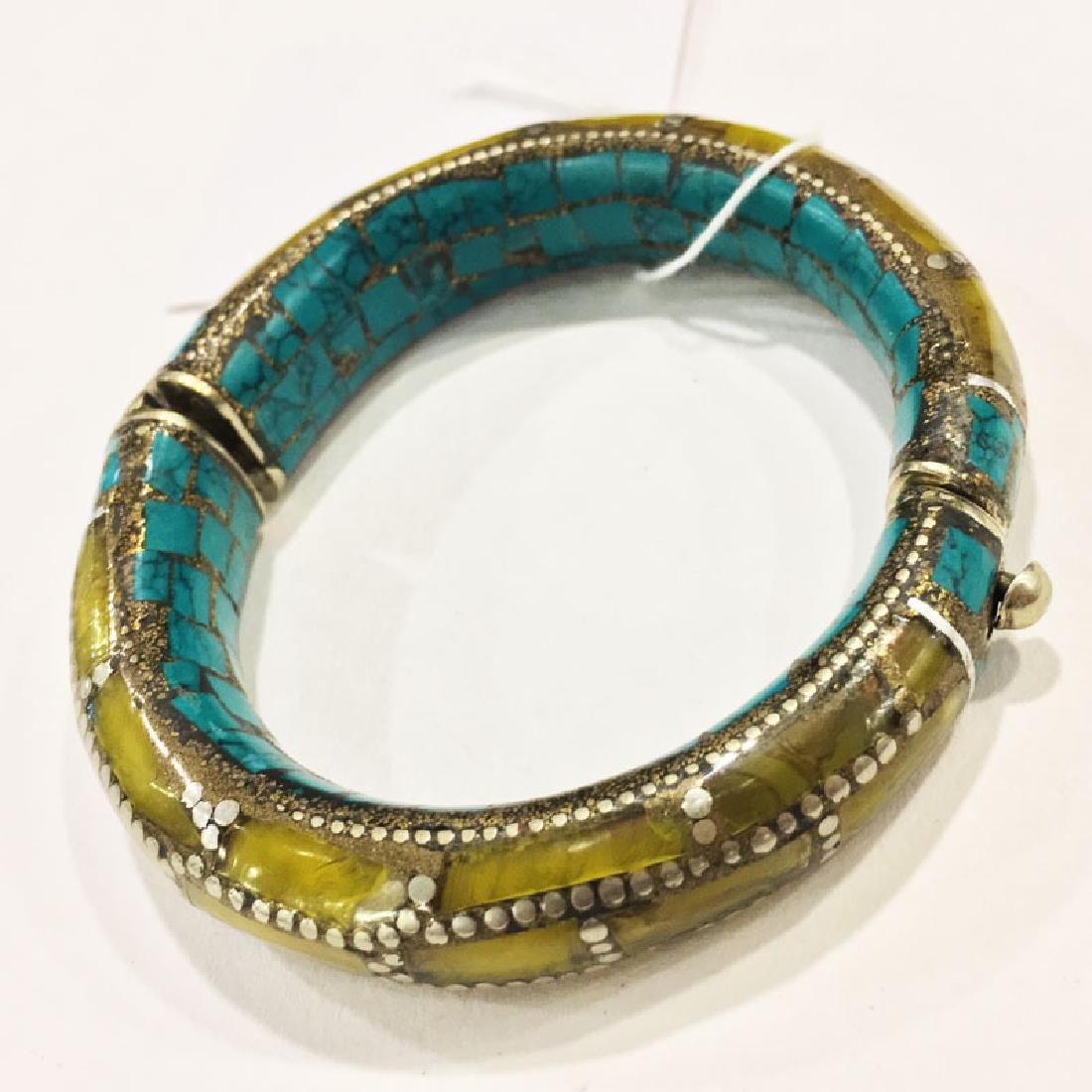 Sterling Silver Turquoise & Amber Bangle - 2