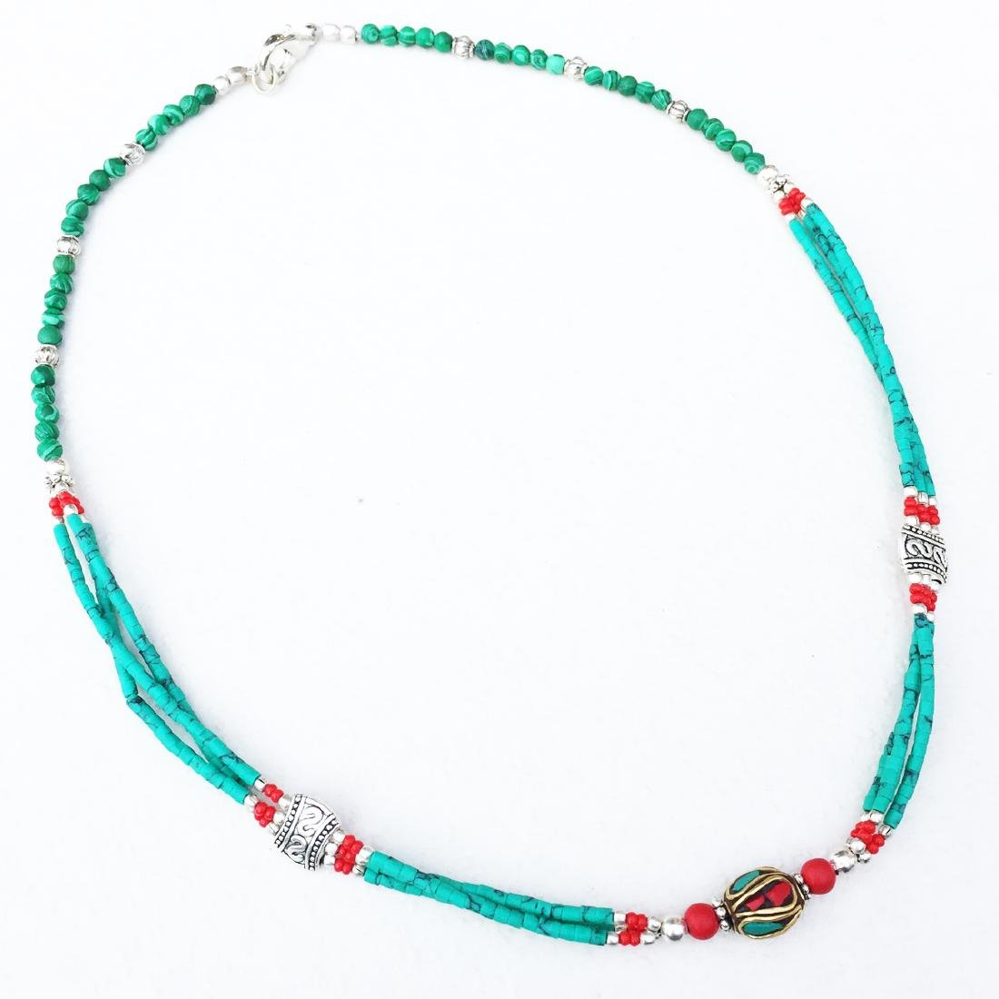 SINGLE STRAND TURQUOISE BEADED NECKLACE WITH BEAD - 2