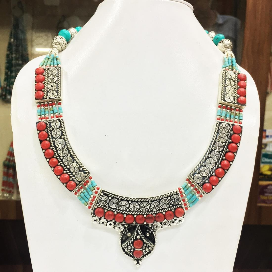 Vintage Turquoise & Coral Tibetan Handmade Necklace