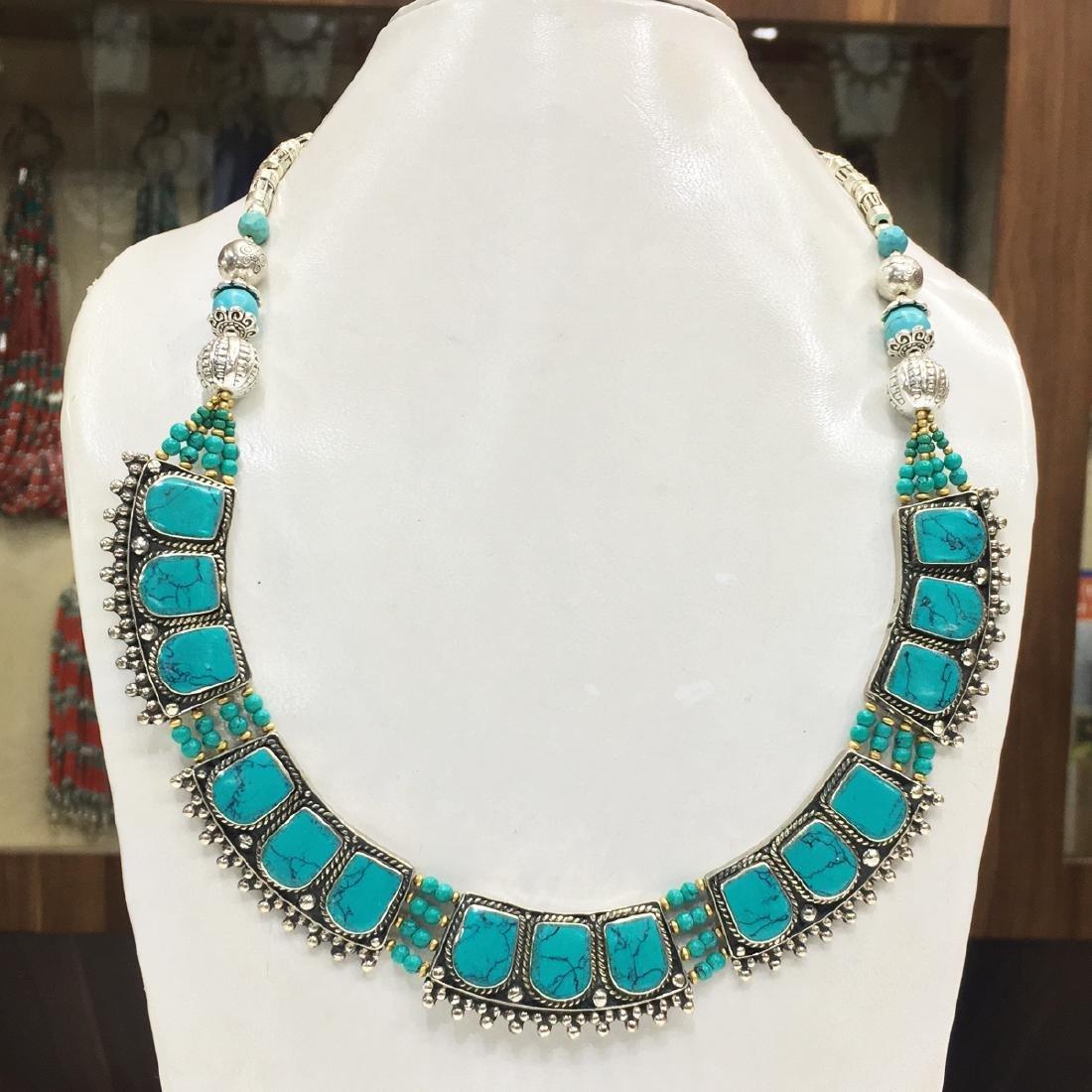 Women's Old Vintage Turquoise Tibetan Asian Necklace