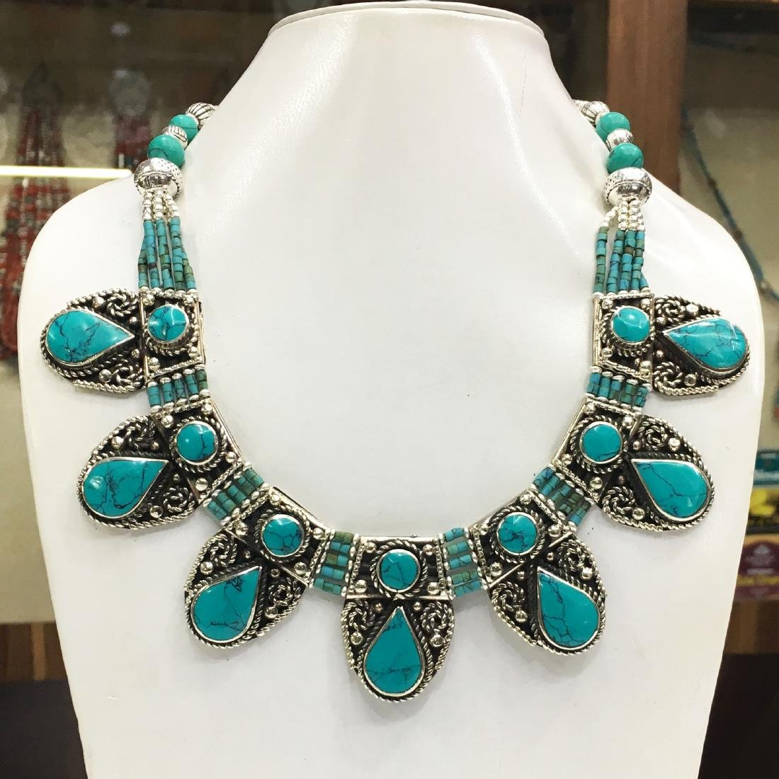 Banjara Turquoise Tibetan Silver Designer Necklace