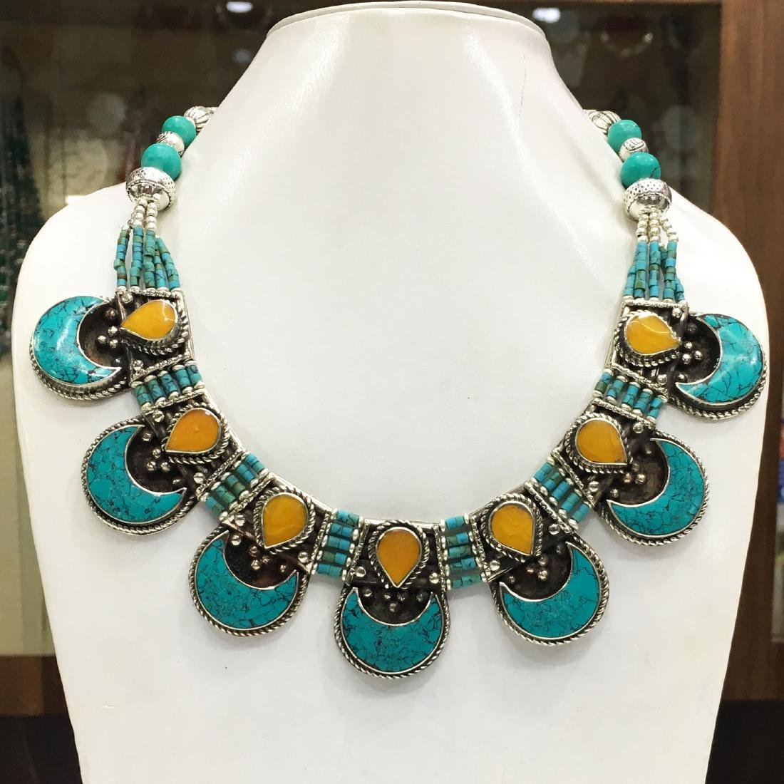 Gypsy Tibetan Designer Turquoise & Coral Long Necklace