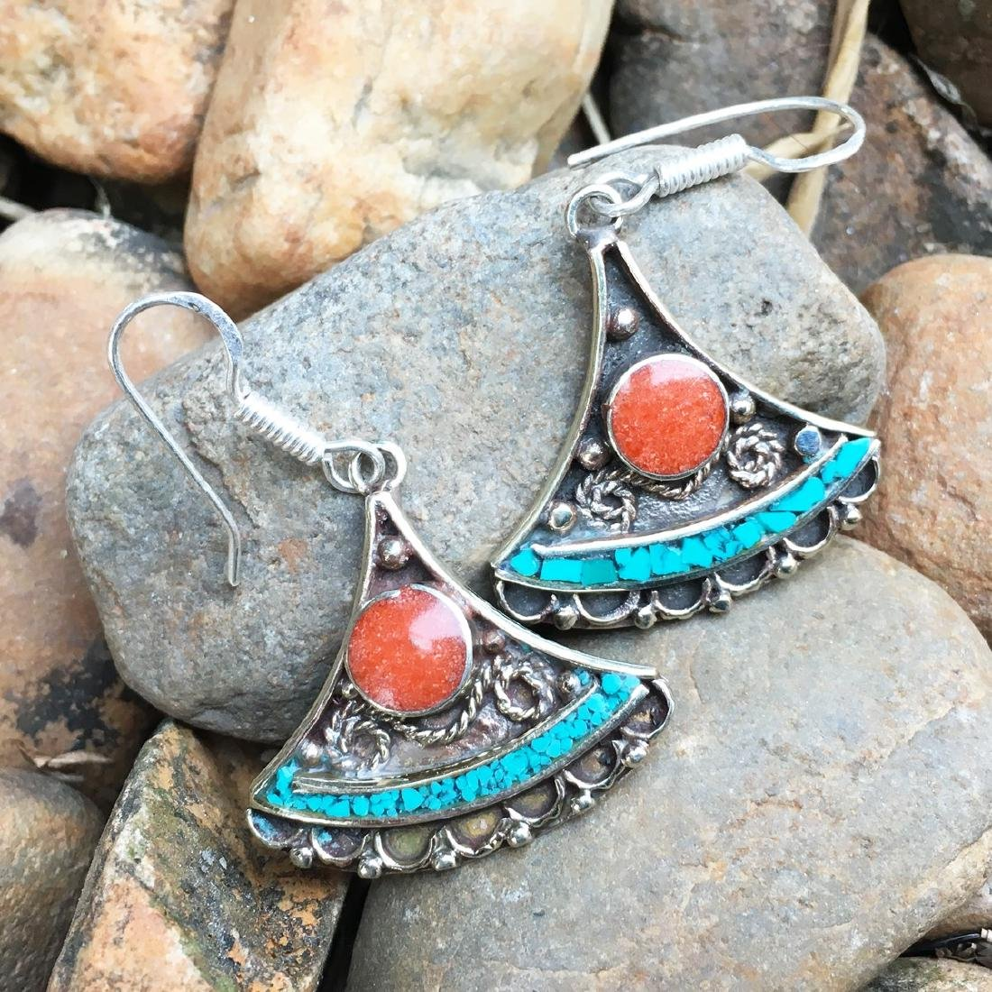 Traditional Turquoise & Coral Antique Earrings