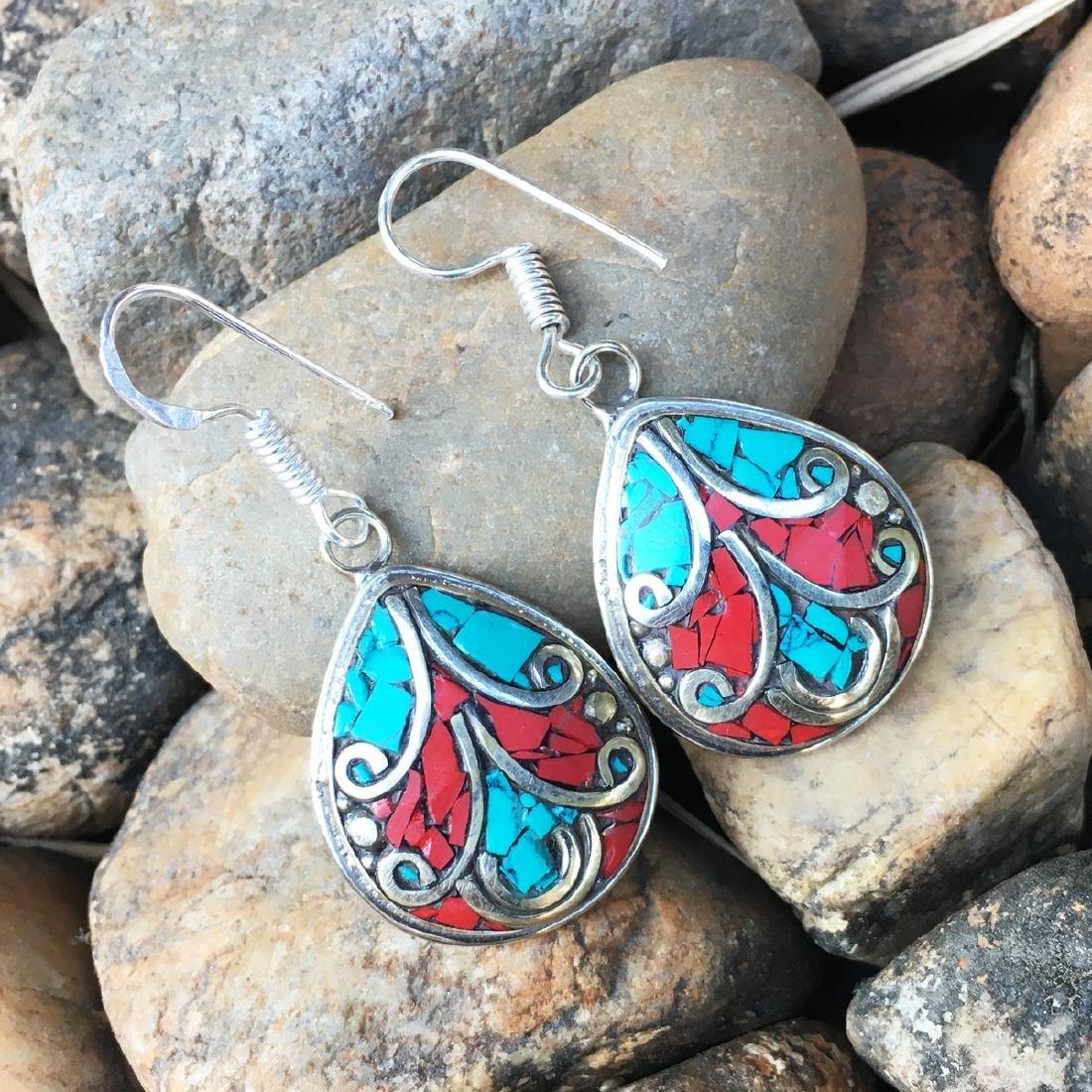 Turquoise & coral Bohemian Big Earring