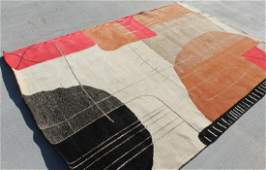 Multi Color Modern Tibetan Area Rug 6' X 9' Handmade In