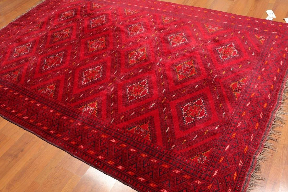 "6'4""x 94"" Afghan Hand Knotted Semi Antique 200 KPSI"