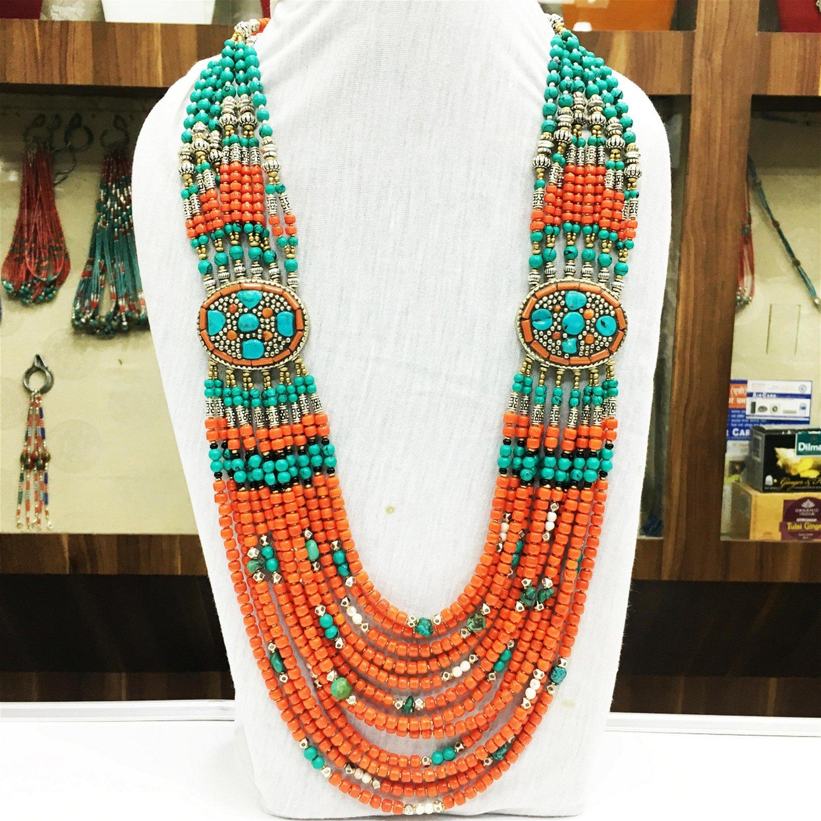 Buddhist Coral Vintage Tibetan Nepali Necklace