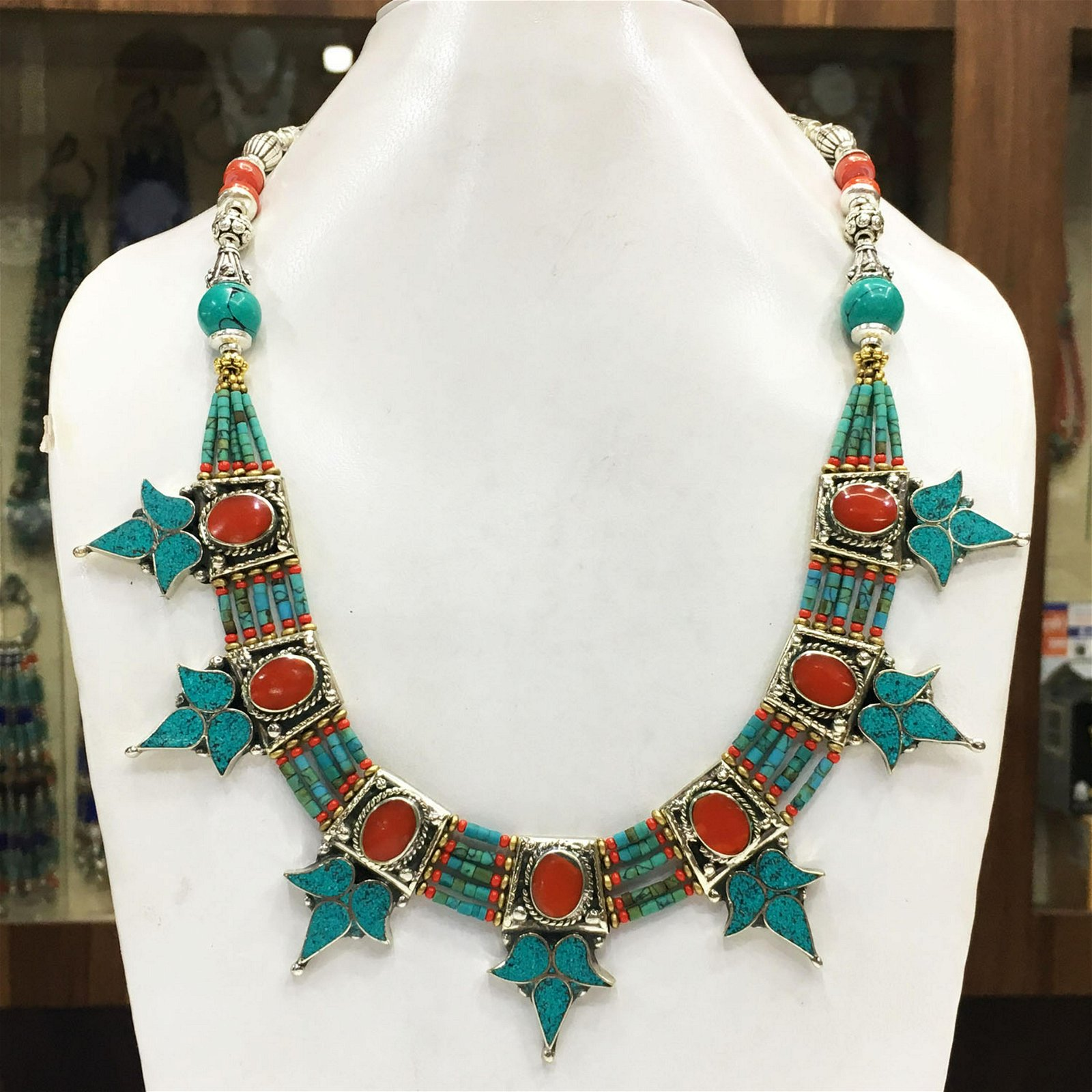 Vintage Tibetan Coral & Turquoise Beaded Necklace