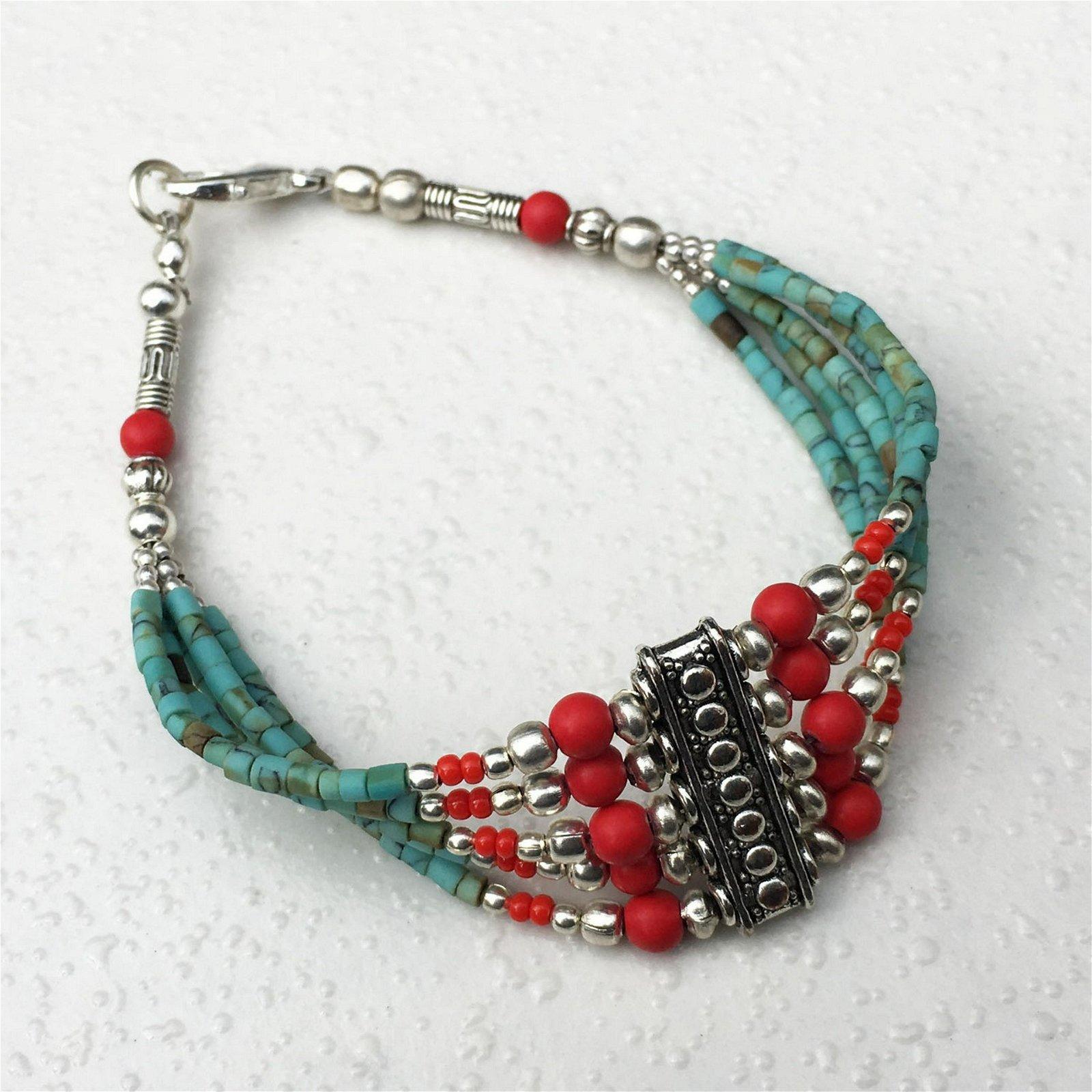 Tibetan Turquoise & Coral Beaded Charm Bracelet