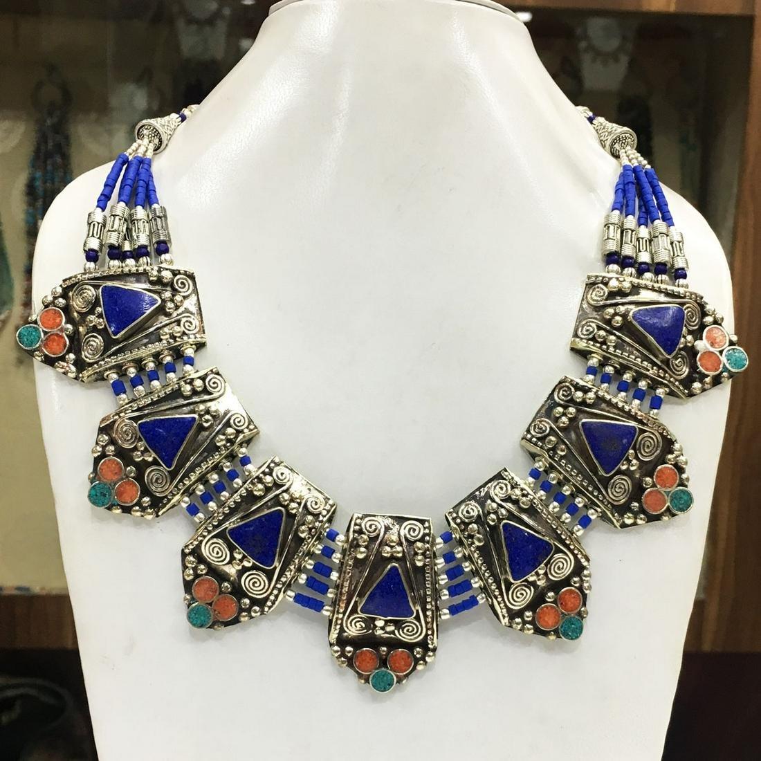 Women's Old Vintage Lapis Tibetan Asian Necklace
