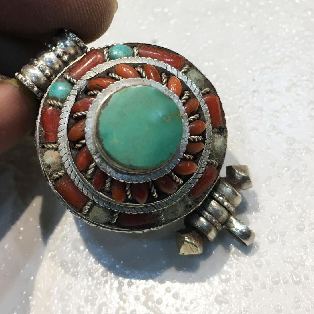 925 Sterling Silver Turquoise & Coral Gau Pendant