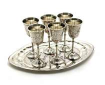 Hand Crafted Metal Brass Wine Glasses Goblet Set With